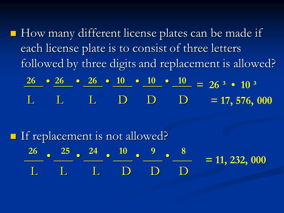 How many different license plates can be made if each license plate is to consist of three letters followed by three digits and replacement is allowed