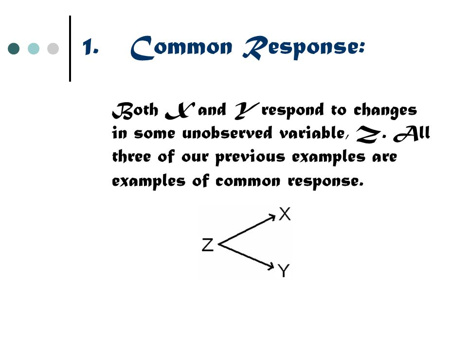 1.Common Response: Both X and Y respond to changes in some unobserved variable, Z. All three of our previous examples are examples of common response.