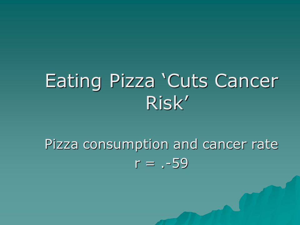 Eating Pizza 'Cuts Cancer Risk' Pizza consumption and cancer rate r =.-59