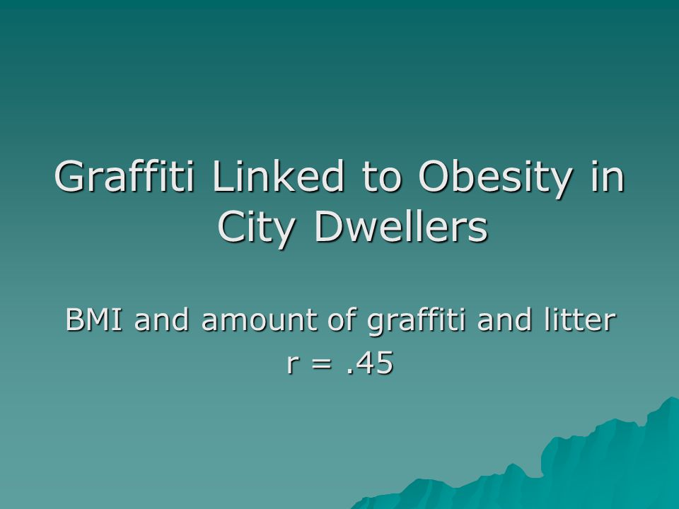 Graffiti Linked to Obesity in City Dwellers BMI and amount of graffiti and litter r =.45
