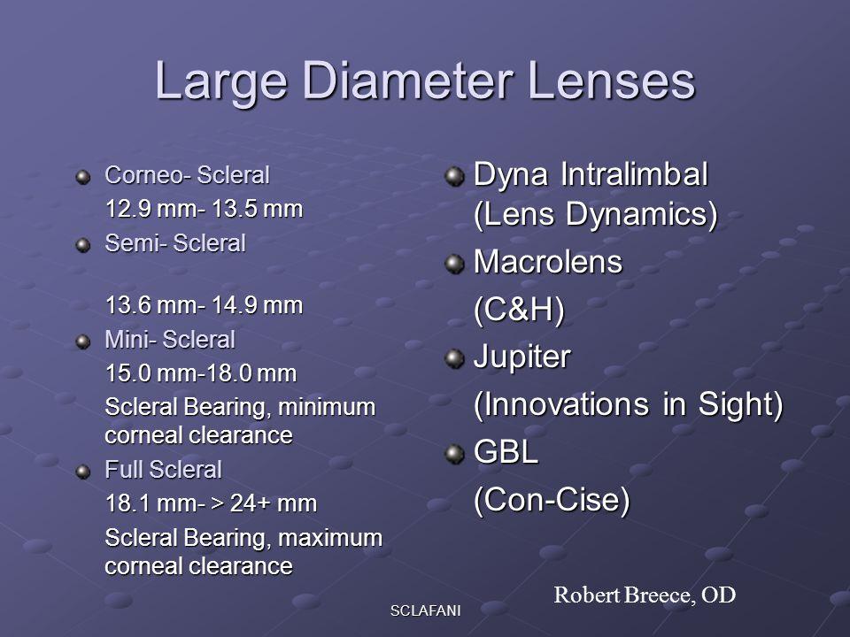 SCLAFANI Large Diameter Lenses Corneo- Scleral 12.9 mm- 13.5 mm Semi- Scleral 13.6 mm- 14.9 mm Mini- Scleral 15.0 mm-18.0 mm Scleral Bearing, minimum corneal clearance Full Scleral 18.1 mm- > 24+ mm Scleral Bearing, maximum corneal clearance Dyna Intralimbal (Lens Dynamics) Macrolens(C&H)Jupiter (Innovations in Sight) GBL(Con-Cise) Robert Breece, OD