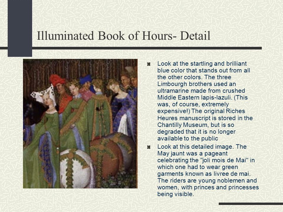 Illuminated Book of Hours- Part 2 The Book of Hours—the main prayer book used in medieval Europe—was divided into eight sections (or
