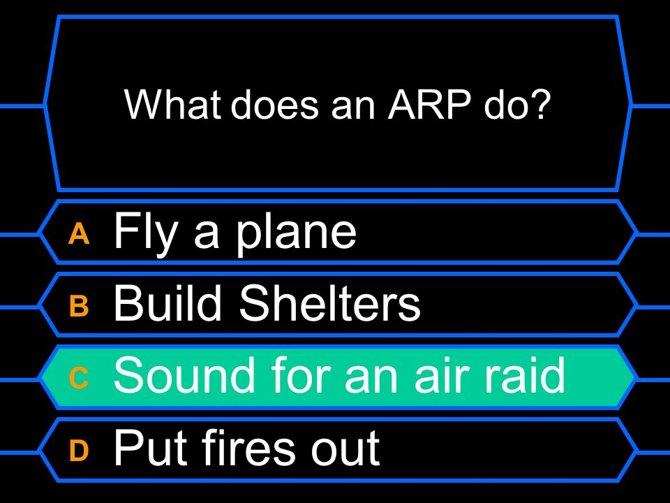 What does an ARP do? A Fly a plane B Build shelters C Sound for an air raid D Put fires out