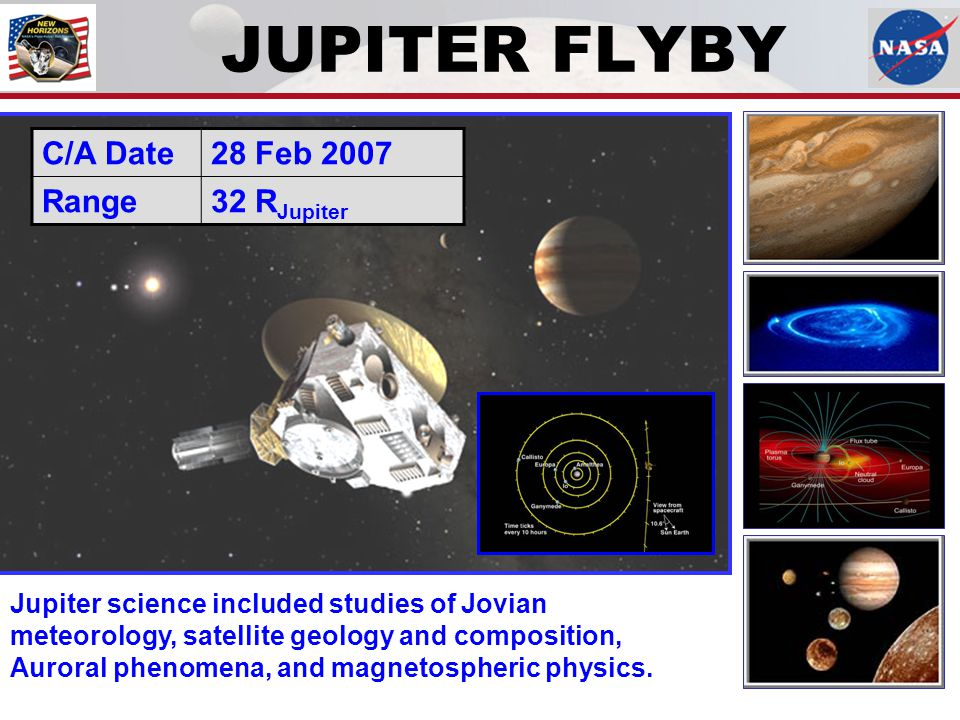 JUPITER FLYBY Jupiter science included studies of Jovian meteorology, satellite geology and composition, Auroral phenomena, and magnetospheric physics