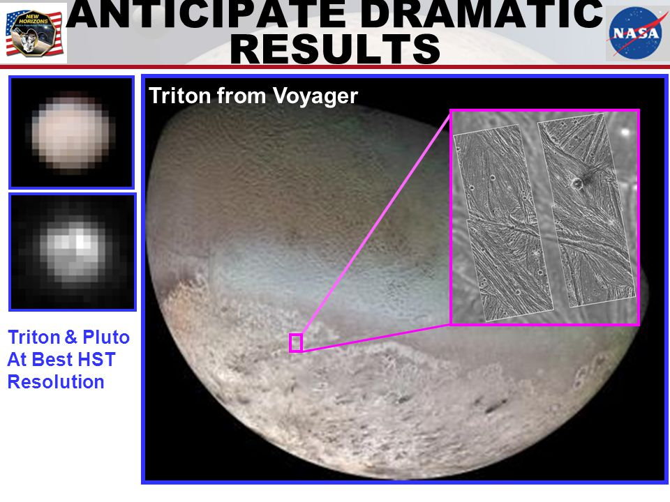 ANTICIPATE DRAMATIC RESULTS Triton & Pluto At Best HST Resolution Triton from Voyager