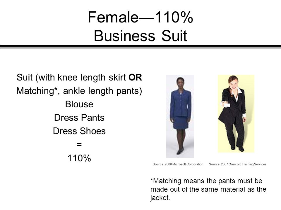 Female—110% Business Suit Suit (with knee length skirt OR Matching*, ankle length pants) Blouse Dress Pants Dress Shoes = 110% Source: 2008 Microsoft CorporationSource: 2007 Concord Training Services *Matching means the pants must be made out of the same material as the jacket.