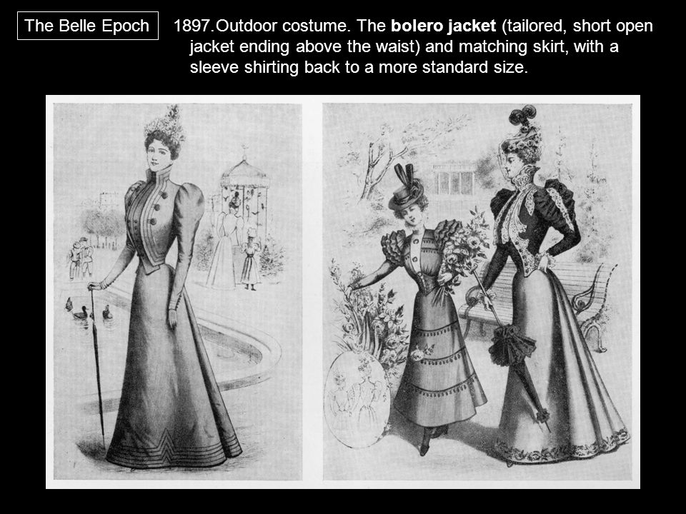 1897.Outdoor costume. The bolero jacket (tailored, short open jacket ending above the waist) and matching skirt, with a sleeve shirting back to a more
