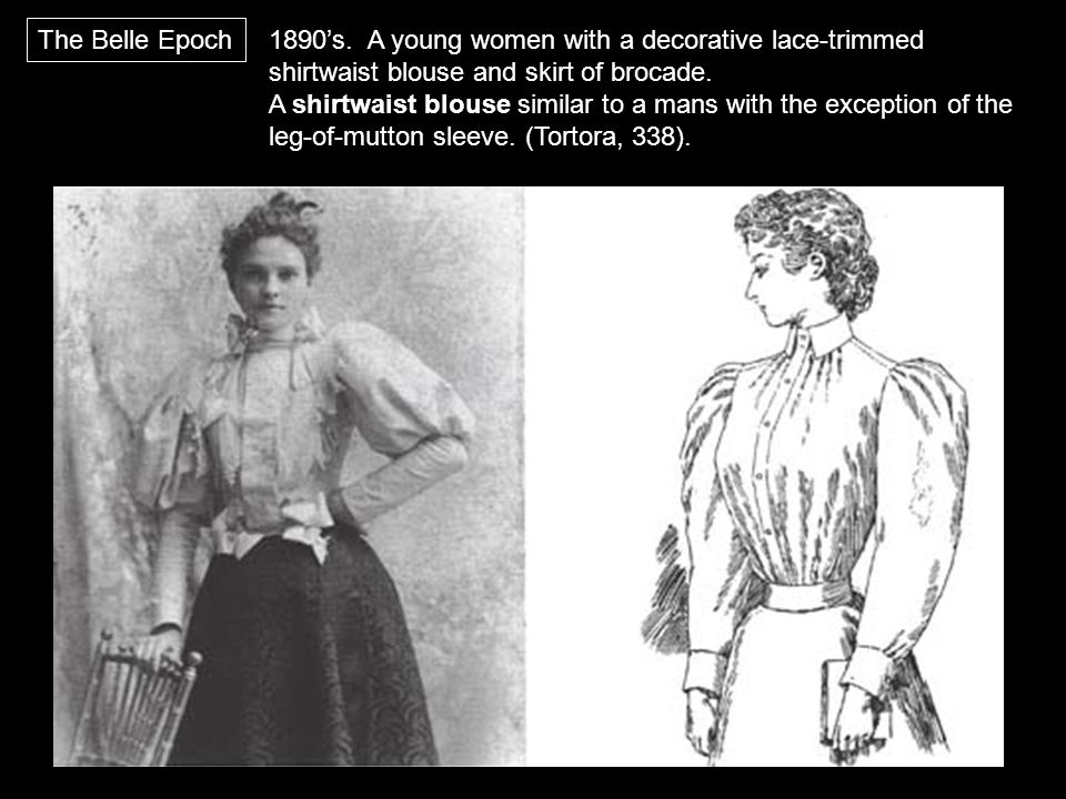 1890's. A young women with a decorative lace-trimmed shirtwaist blouse and skirt of brocade. A shirtwaist blouse similar to a mans with the exception