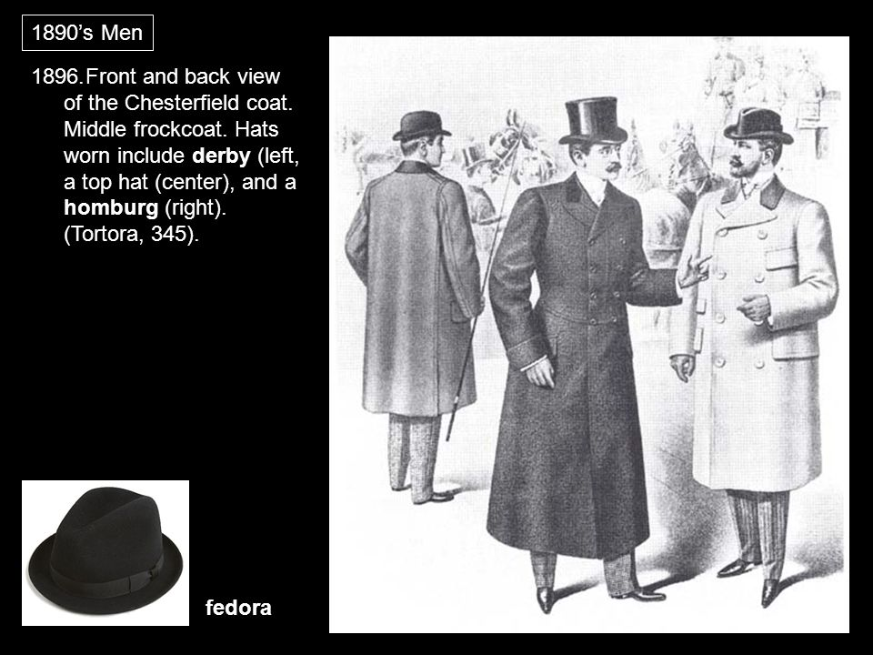 1896.Front and back view of the Chesterfield coat. Middle frockcoat. Hats worn include derby (left, a top hat (center), and a homburg (right). (Tortor