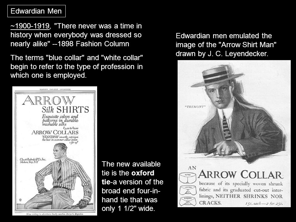 Edwardian Men Edwardian men emulated the image of the Arrow Shirt Man drawn by J.