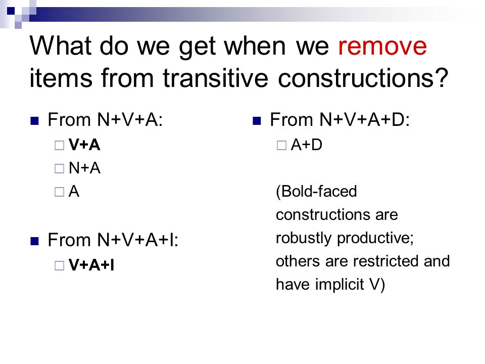 What do we get when we remove items from transitive constructions? From N+V+A:  V+A  N+A  A From N+V+A+I:  V+A+I From N+V+A+D:  A+D (Bold-faced c