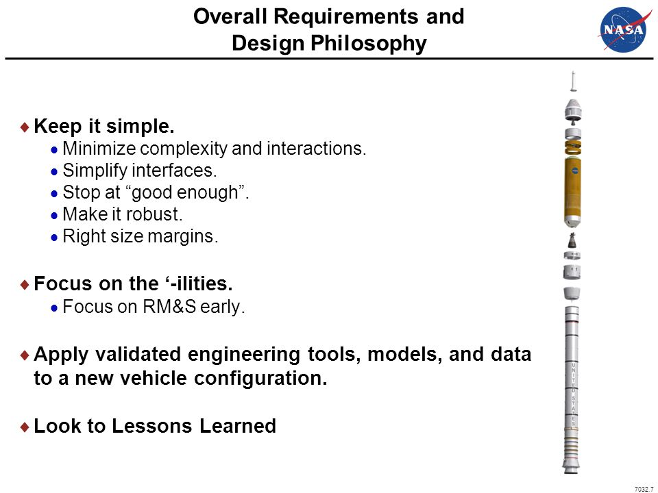 """7032.7 Overall Requirements and Design Philosophy  Keep it simple.  Minimize complexity and interactions.  Simplify interfaces.  Stop at """"good eno"""