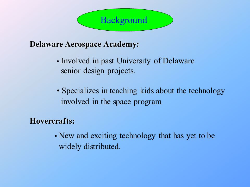 Background Delaware Aerospace Academy: Involved in past University of Delaware senior design projects.