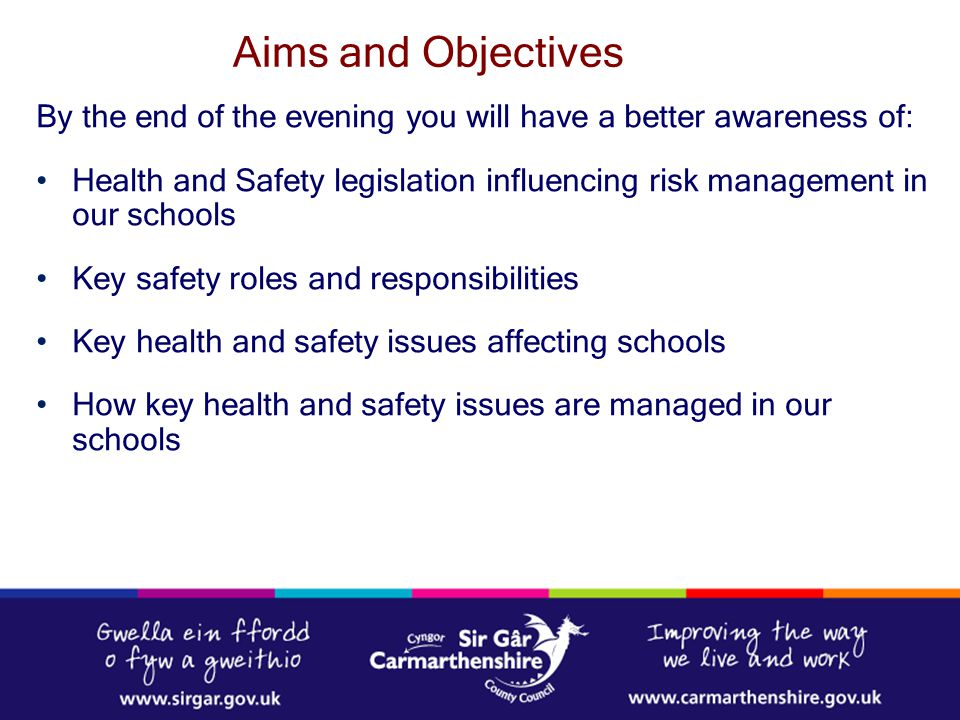 Responsibility for the health and safety of pupils lies with the Governing Body either as the direct employer of school staff or through control of the school premises or both Where the Governing Body does not employ staff, the Local Authority also has responsibilities as the employer In reality Health & Safety in schools is a shared responsibility between the Governing Body, Local Authorities and head teachers The Role of the School Governors – Health & Safety