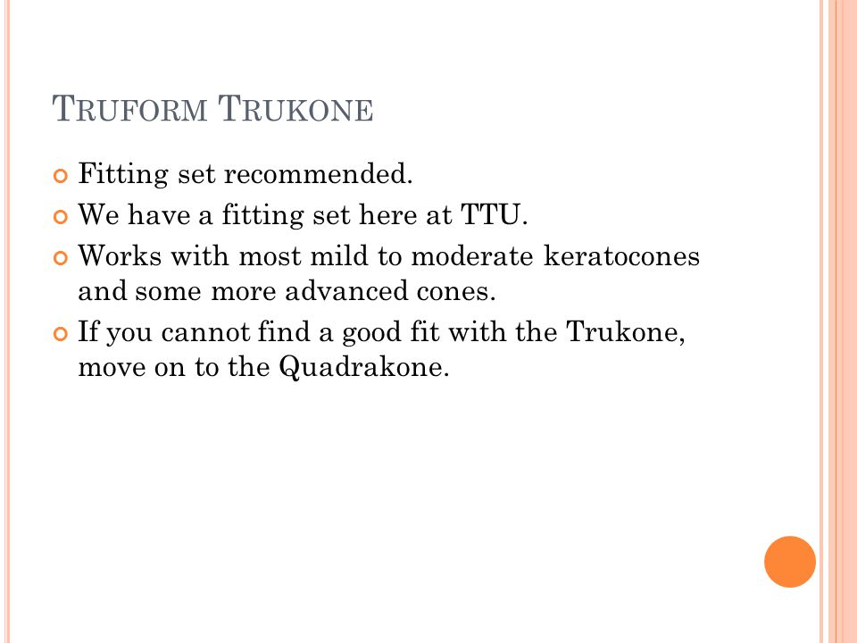 T RUFORM T RUKONE Fitting set recommended. We have a fitting set here at TTU.