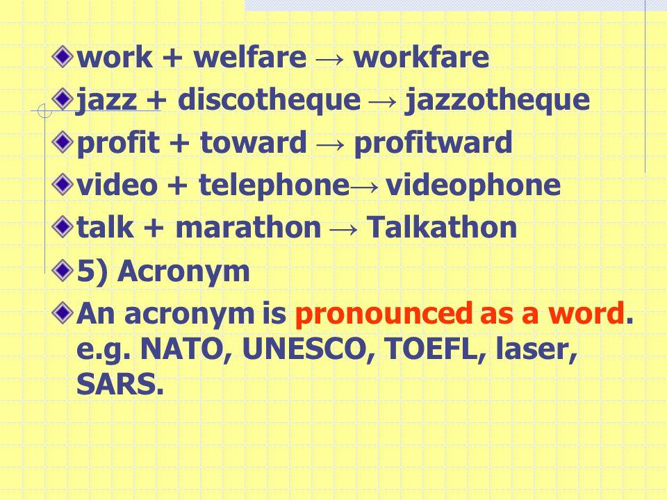 work + welfare → workfare jazz + discotheque → jazzotheque profit + toward → profitward video + telephone → videophone talk + marathon → Talkathon 5) Acronym An acronym is pronounced as a word.