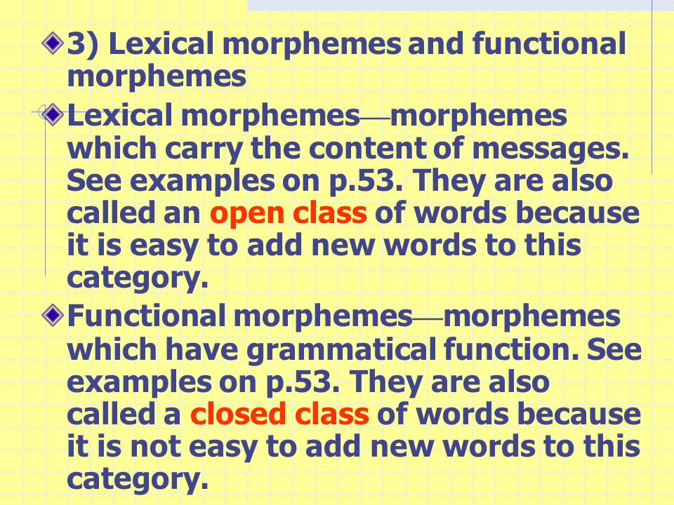 3) Lexical morphemes and functional morphemes Lexical morphemes — morphemes which carry the content of messages.