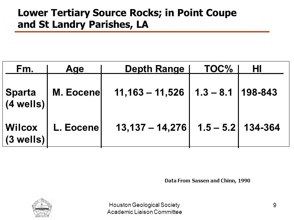 Houston Geological Society Academic Liaison Committee 10 Lower Tertiary Source Rocks in the Amoco MC-84 Well From Wagner, Sofer and Claxton, 1994 Hyper-saline or Condensed Section?.