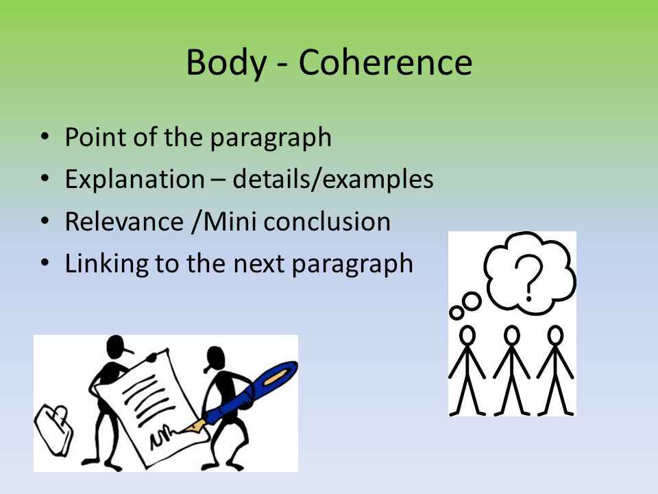 Body - Coherence Point of the paragraph Explanation – details/examples Relevance /Mini conclusion Linking to the next paragraph