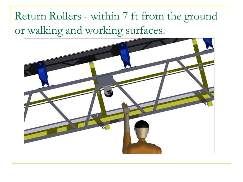 Return Rollers - within 7 ft from the ground or walking and working surfaces.
