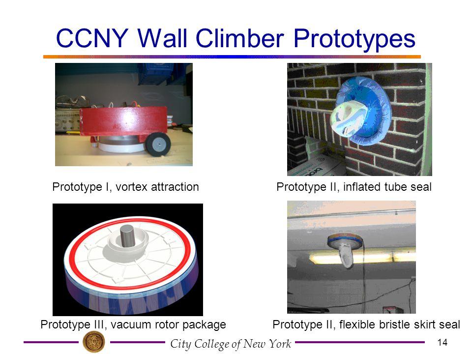 City College of New York 14 CCNY Wall Climber Prototypes Prototype III, vacuum rotor package Prototype II, inflated tube seal Prototype II, flexible b