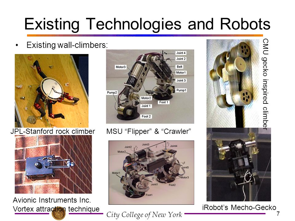 """City College of New York 7 Existing Technologies and Robots Existing wall-climbers: MSU """"Flipper"""" & """"Crawler""""JPL-Stanford rock climber Avionic Instrum"""