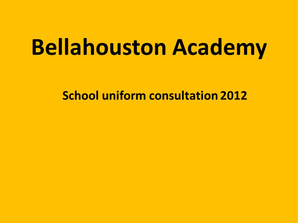 Bellahouston Academy School uniform consultation 2012