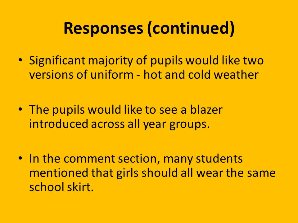 Responses (continued) Significant majority of pupils would like two versions of uniform - hot and cold weather The pupils would like to see a blazer introduced across all year groups.