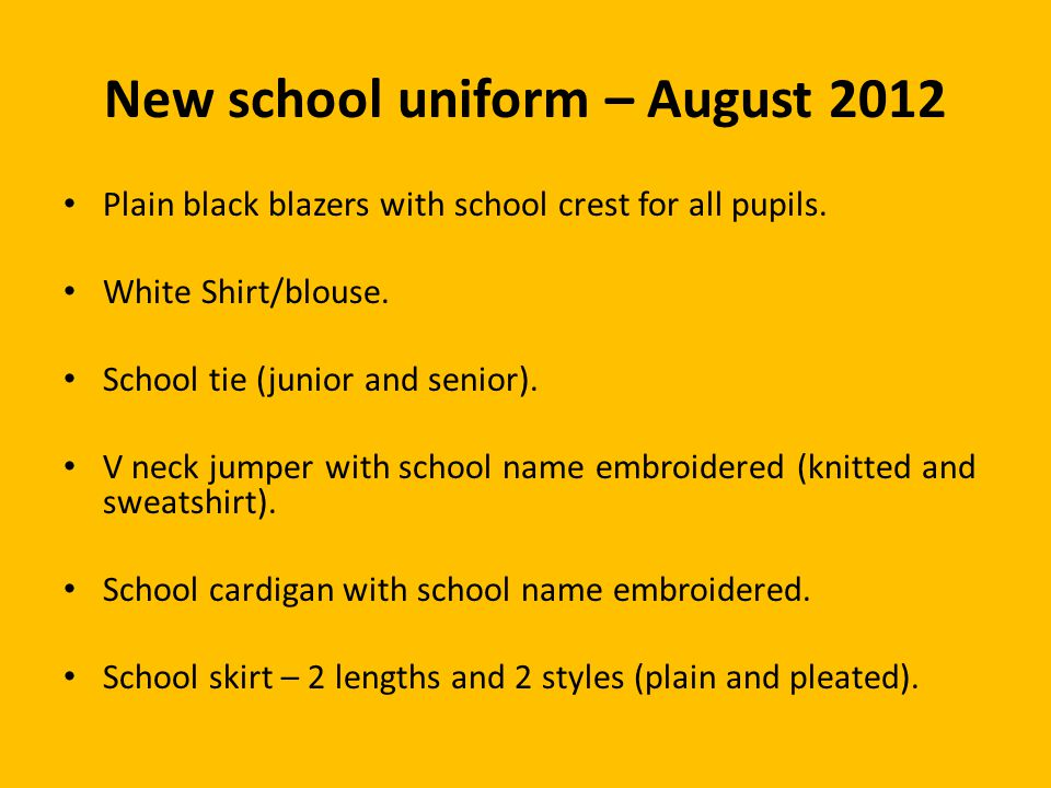 New school uniform – August 2012 Plain black blazers with school crest for all pupils.