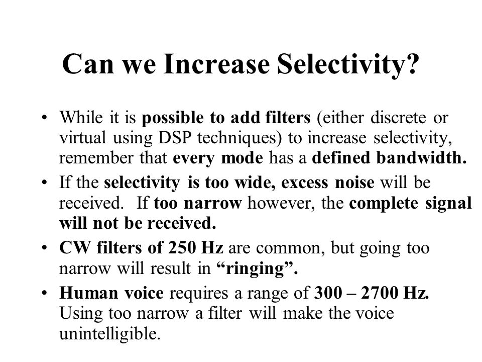 Can we Increase Selectivity.