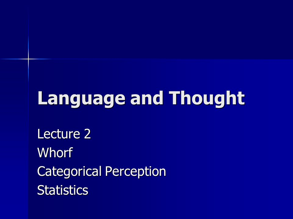 Language and Thought Lecture 2 Whorf Categorical Perception Statistics