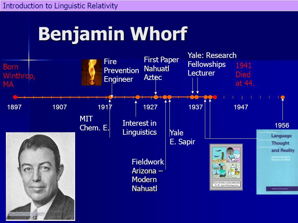 189719071917192719371947 Benjamin Whorf 1956 1941 Died at 44.