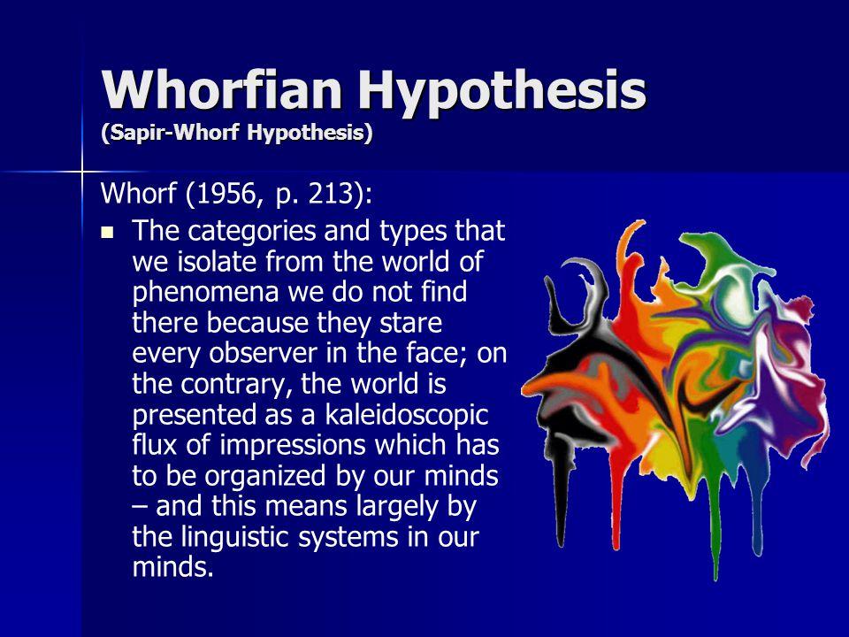 Whorfian Hypothesis (Sapir-Whorf Hypothesis) Whorf (1956, p.