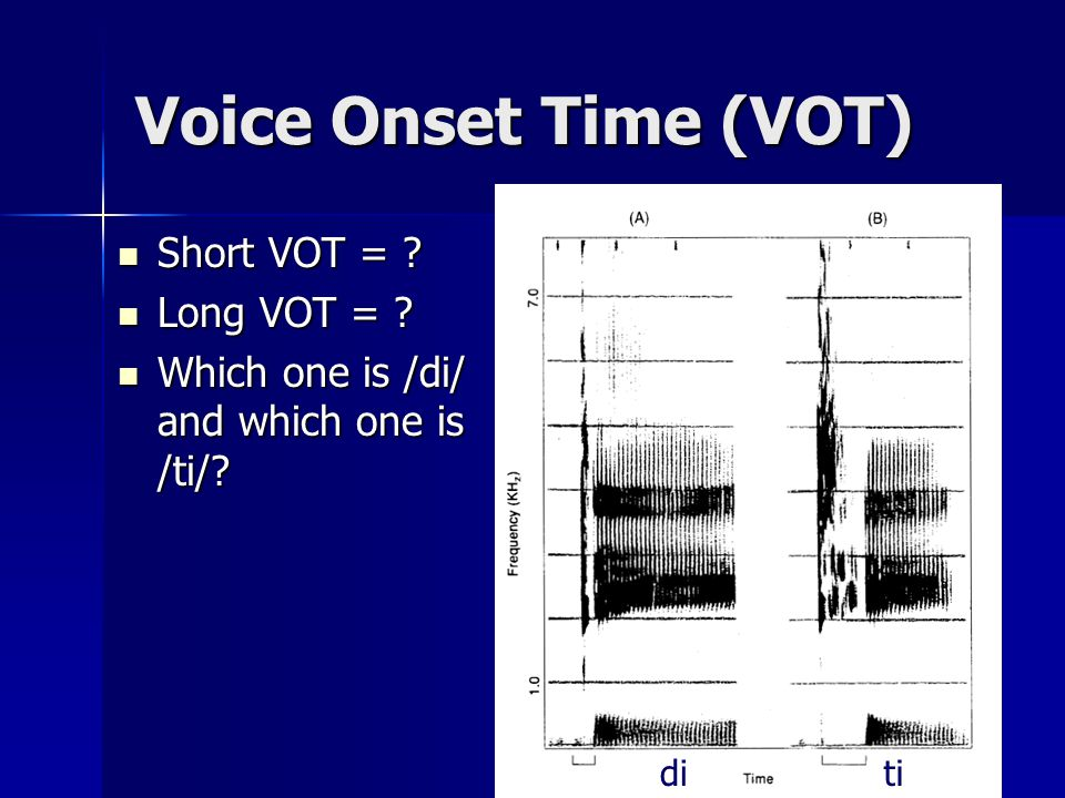 Voice Onset Time (VOT) VOT: VOT: time between consonant release and vocal cord vibration [p] [b] So what is the difference in VOT between VOICELESS [b] and VOICED [p].