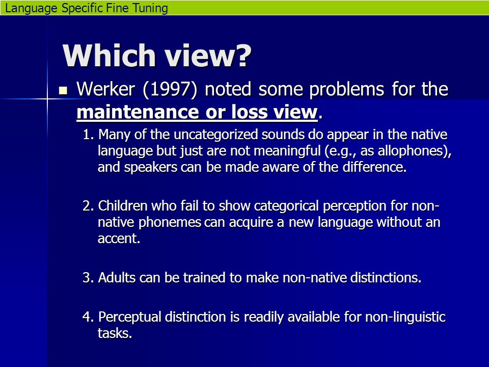 Which view. Werker (1997) noted some problems for the maintenance or loss view.