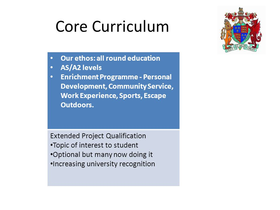 Core Curriculum Our ethos: all round education AS/A2 levels Enrichment Programme - Personal Development, Community Service, Work Experience, Sports, Escape Outdoors.