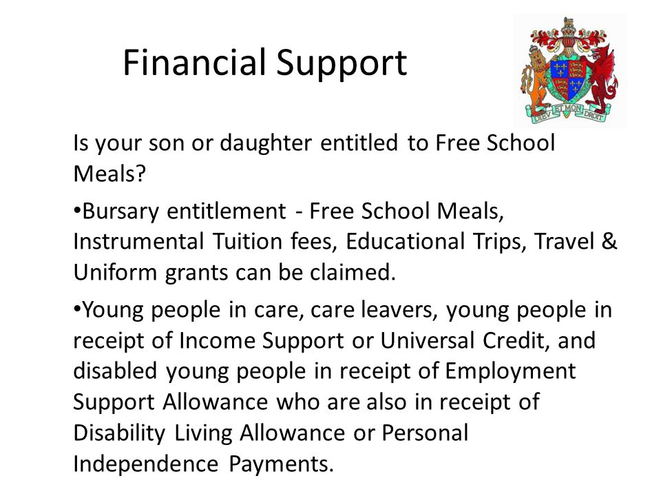 Financial Support Is your son or daughter entitled to Free School Meals.