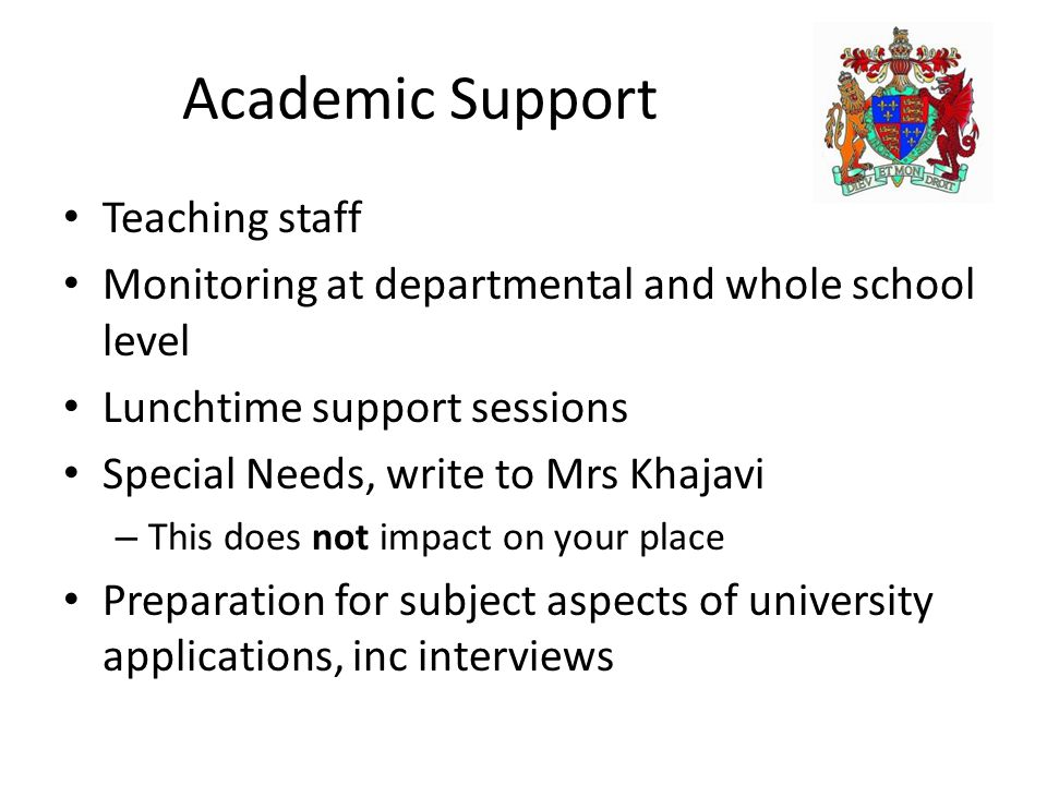 Academic Support Teaching staff Monitoring at departmental and whole school level Lunchtime support sessions Special Needs, write to Mrs Khajavi – Thi