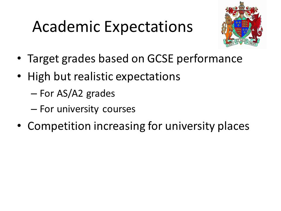 Academic Expectations Target grades based on GCSE performance High but realistic expectations – For AS/A2 grades – For university courses Competition