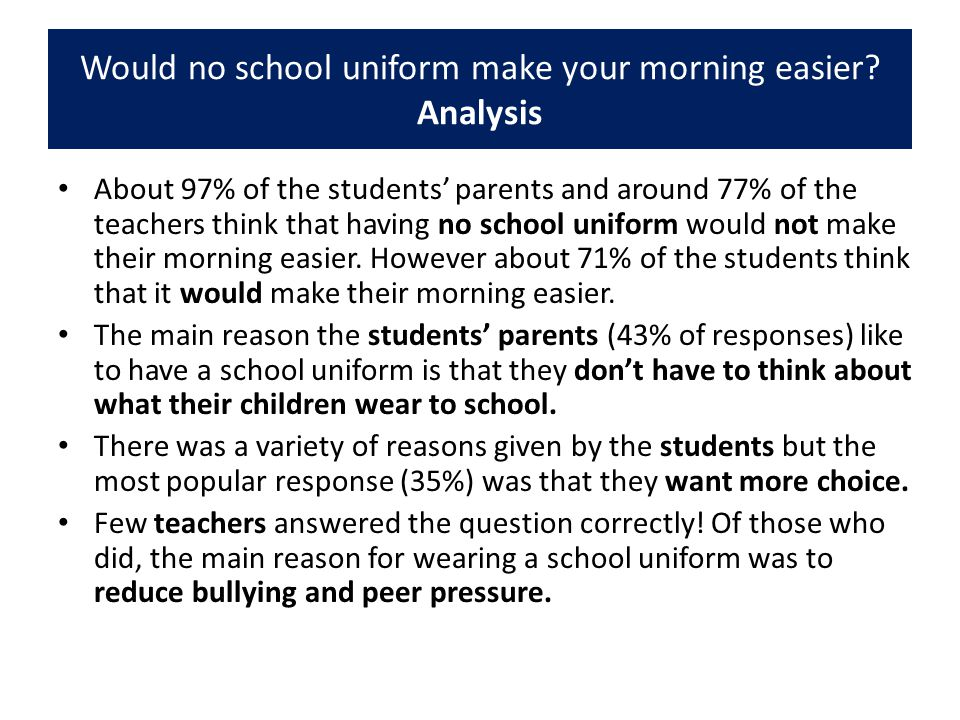 Would no school uniform make your morning easier? Analysis About 97% of the students' parents and around 77% of the teachers think that having no scho
