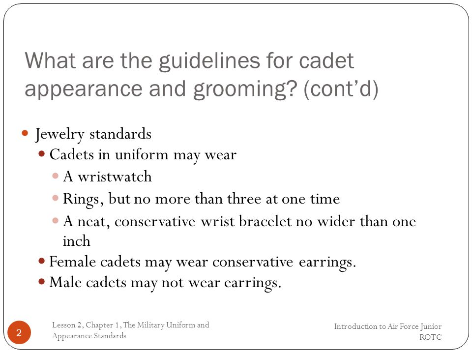 What are the guidelines for cadet appearance and grooming.
