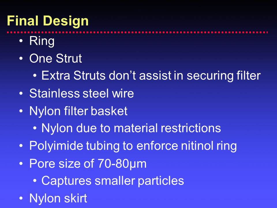 Ring One Strut Extra Struts don't assist in securing filter Stainless steel wire Nylon filter basket Nylon due to material restrictions Polyimide tubi