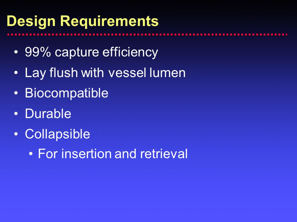Design Requirements 99% capture efficiency Lay flush with vessel lumen Biocompatible Durable Collapsible For insertion and retrieval