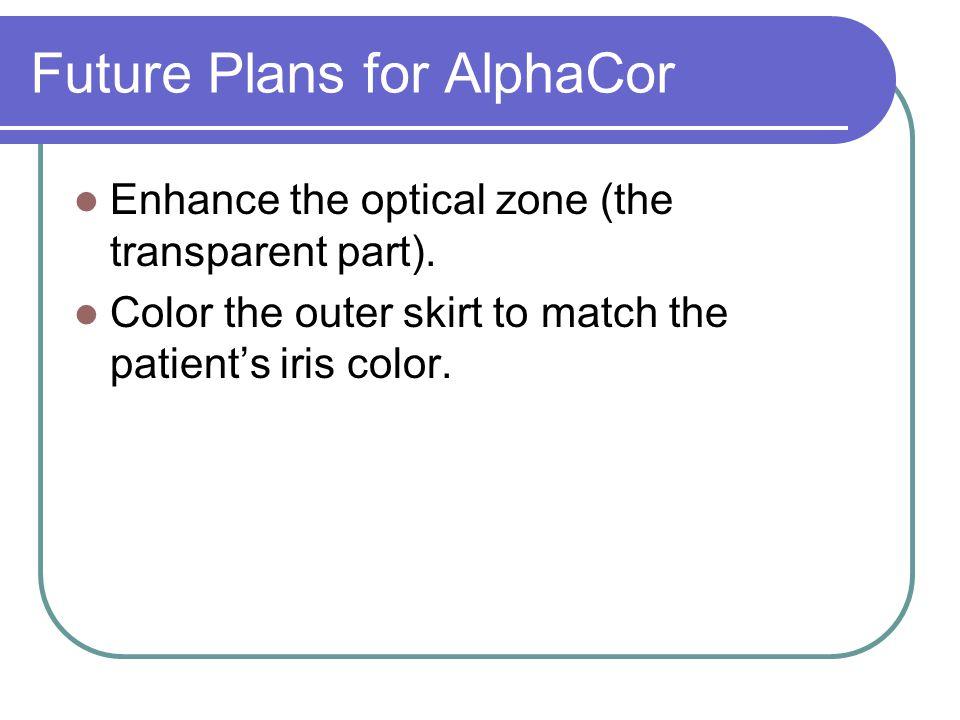 Future Plans for AlphaCor Enhance the optical zone (the transparent part).