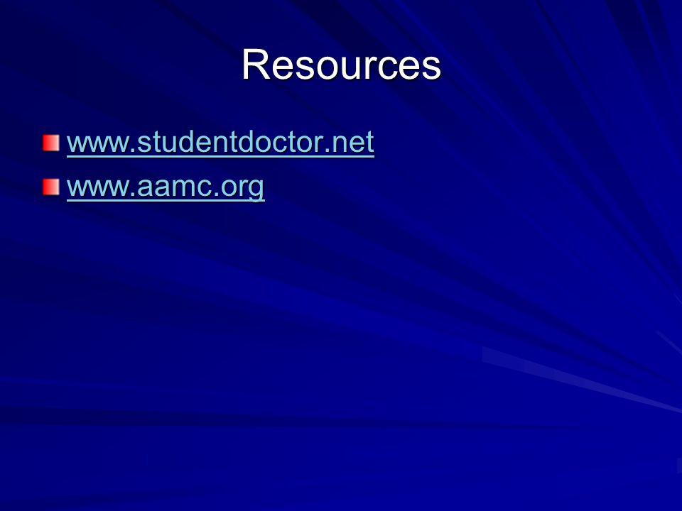 Resources www.studentdoctor.net www.aamc.org