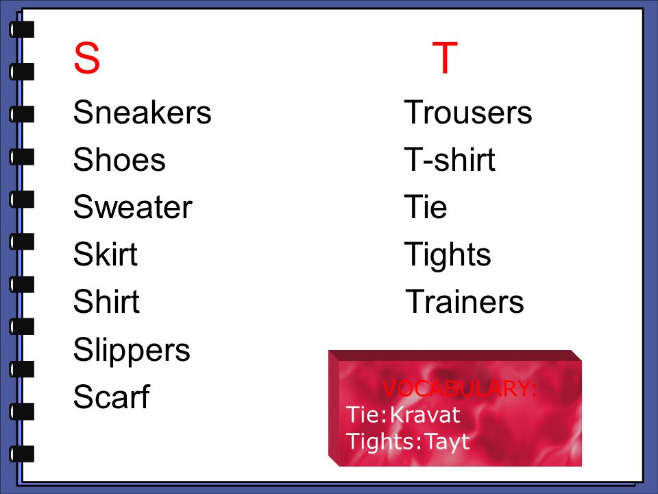 S T Sneakers Trousers Shoes T-shirt Sweater Tie Skirt Tights Shirt Trainers Slippers Scarf VOCABULARY: Tie:Kravat Tights:Tayt