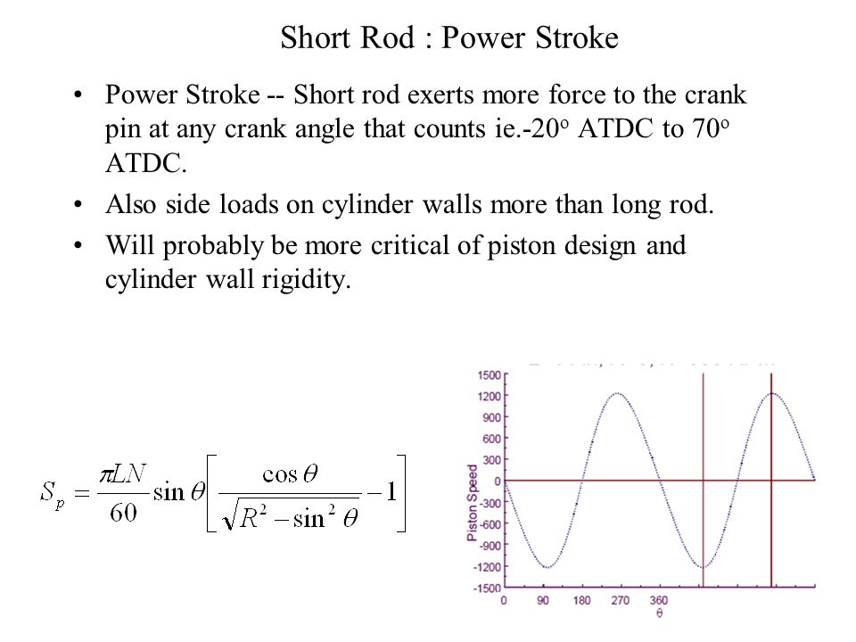 Short Rod : Compression Stroke & Ignition Piston moves slower from BDC to 90 o BTDC; faster from 90 o BTDC to TDC than long rod. With same ignition ti