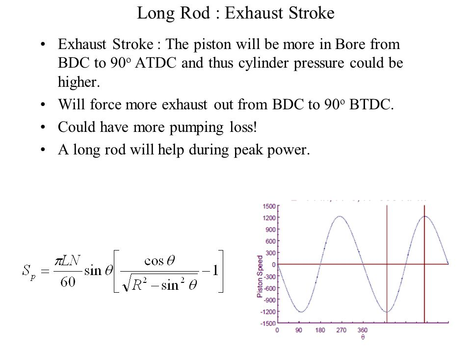 Long Rod : Power Stroke Power Stroke -- Piston is further down in bore for any given rod/crank pin angle and thus, at any crank angle from 20 o to 75