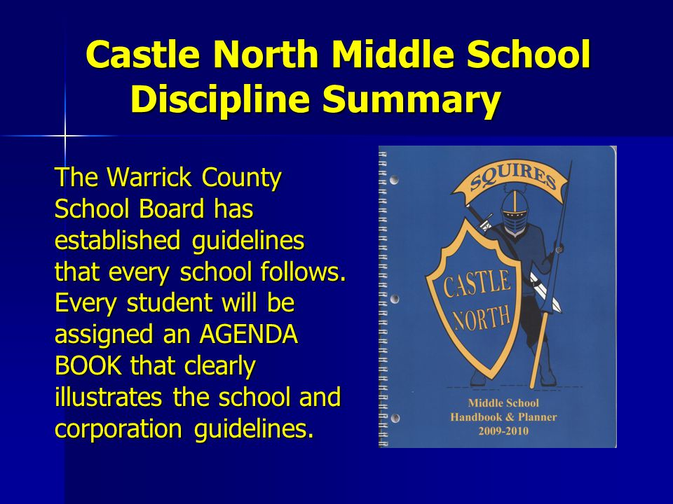 Castle North Middle School Discipline Summary The Warrick County School Board has established guidelines that every school follows. Every student will