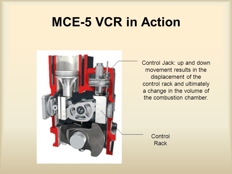 MCE-5 VCR in Action Control Jack: up and down movement results in the displacement of the control rack and ultimately a change in the volume of the combustion chamber.